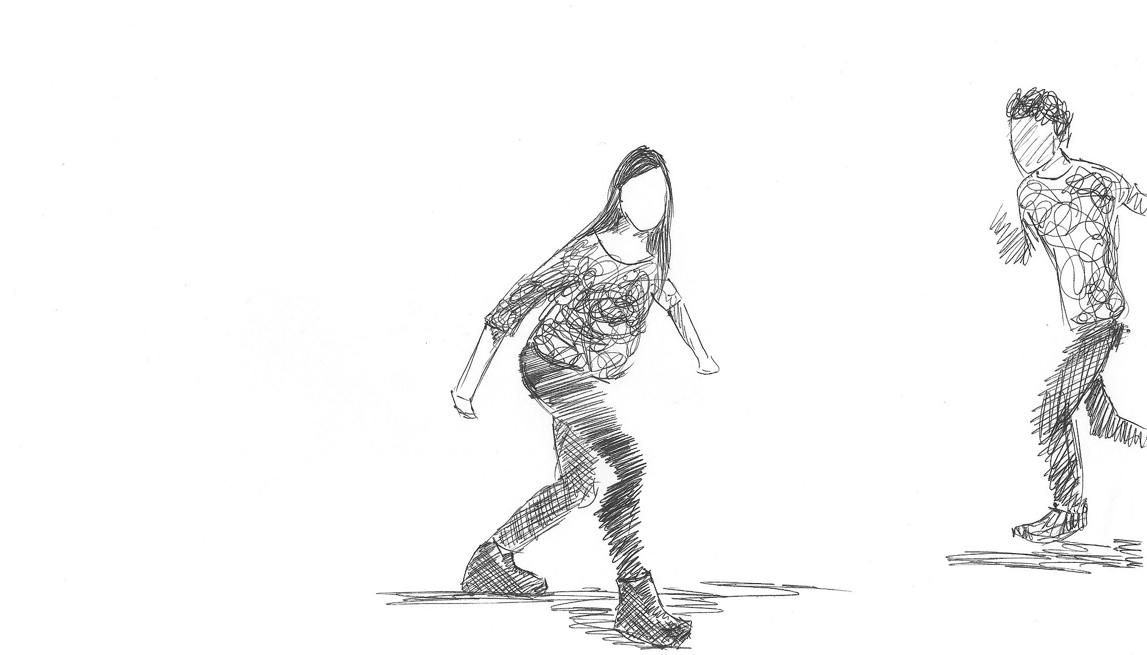 "Black & white rotoscope animation ""Silly step"""